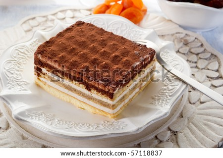 tiramisu traditional italian dessert - stock photo