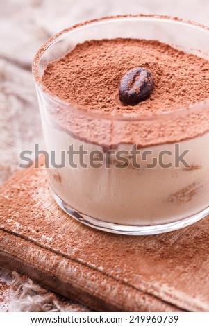 Tiramisu, traditional Italian dessert in a glass  - stock photo