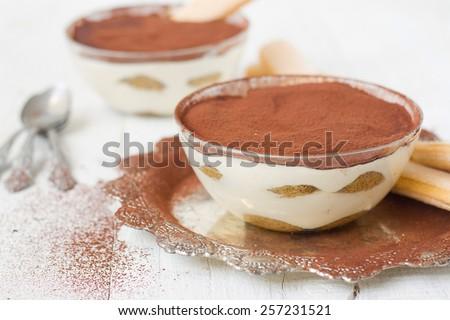 Tiramisu, traditional Italian dessert..selective focus - stock photo