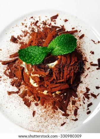 Tiramisu with cacao powder coating and mint leaves  - stock photo