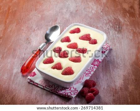tiramisu with raspberry - stock photo