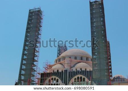 Αποτέλεσμα εικόνας για under construction mosque in Tirana