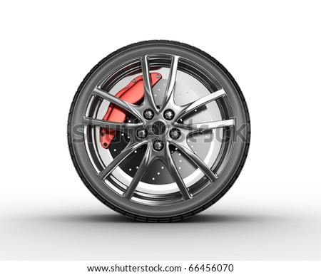 Tire and alloy wheel - 3d render - stock photo
