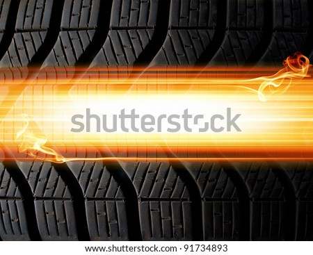 tire and flames abstract background - stock photo