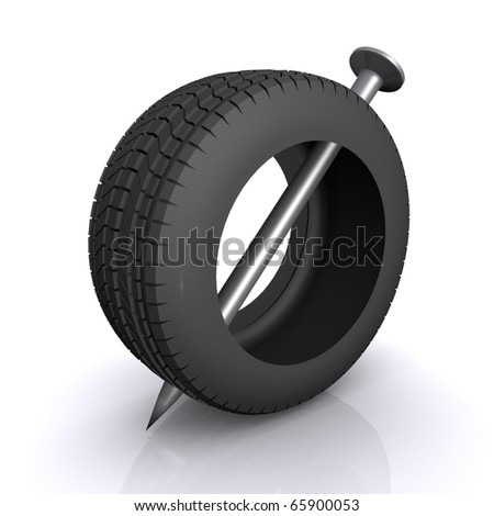 tire automobile wheel punched a giant nail - stock photo