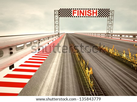tire burning on race circuit asphalt illustration - stock photo