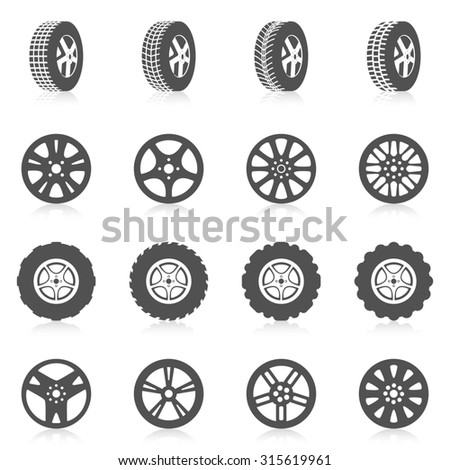 Tire car auto montage service black silhouette icons set isolated  illustration - stock photo