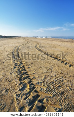 tire mark on the sand - stock photo