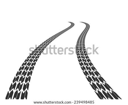 Tire marks on the road stretching into the distance - stock photo
