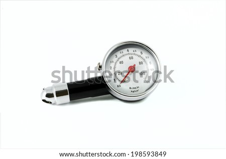 Tire Pressure Gauge isolated over white background - stock photo