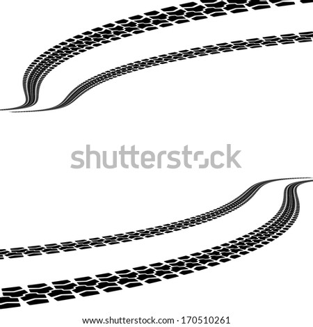 tire prints,  illustration - stock photo