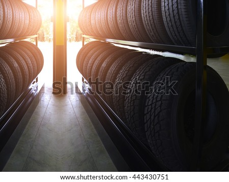 tire rubber products group of new tires for sale at a tire store