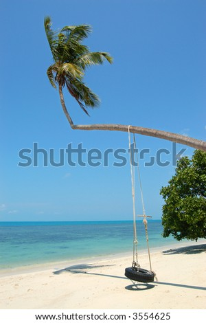 Tire Swing on Palm, Thailand - stock photo