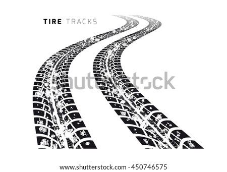 Tire tracks. illustration on white background - stock photo