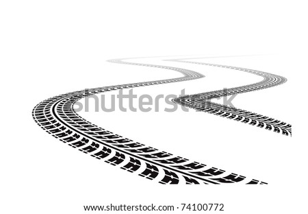 tire tracks in perspective view - stock photo