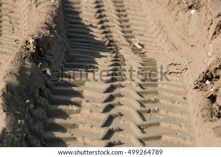 Tire tracks in the wet sand of a truck or tractor