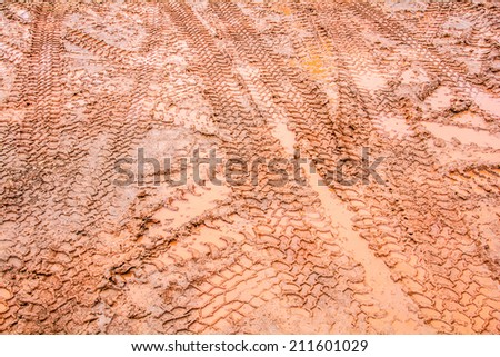 Tire tracks on a muddy road in the countryside.  - stock photo
