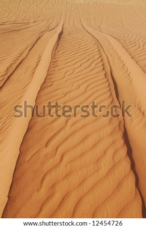 Tire tracks on sand dunes in Wadi Rum desert, Jordan - stock photo