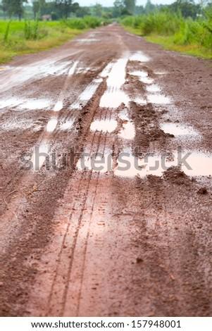 Tire tracks. Wet road bad quality. - stock photo