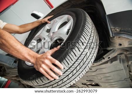 Tire. wheel change - stock photo