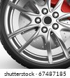 Tire with alloy wheel - 3d render - stock vector