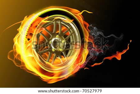 Tire with fire - stock photo