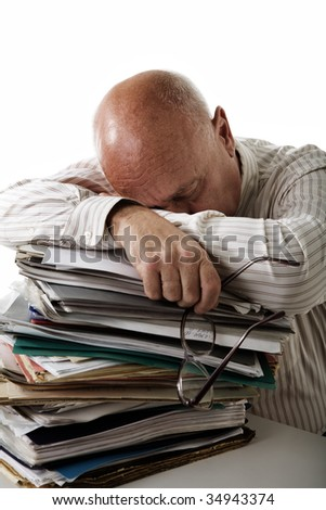 Tired accountant - stock photo