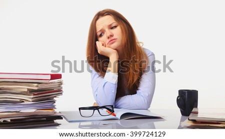 tired and exhausted business  woman working with documents (psychological portrait, aggression, anger, frustration) - stock photo