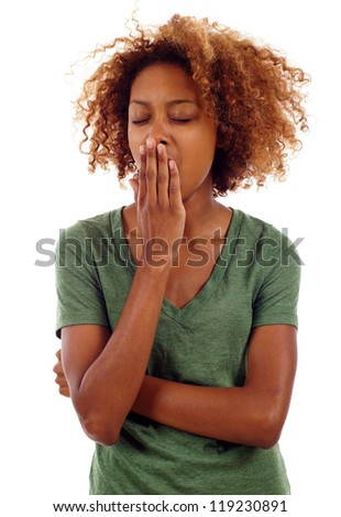 Tired and sleepy black woman yawning isolated over white background - stock photo