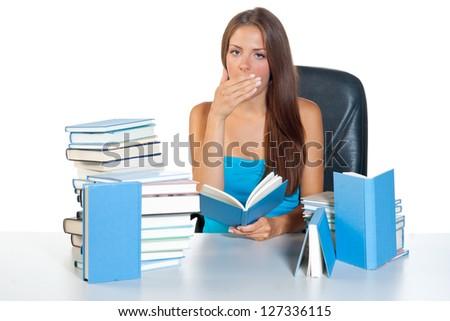tired and sleepy teen girl learning - stock photo