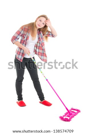tired beautiful girl with pink mop isolated on white background - stock photo