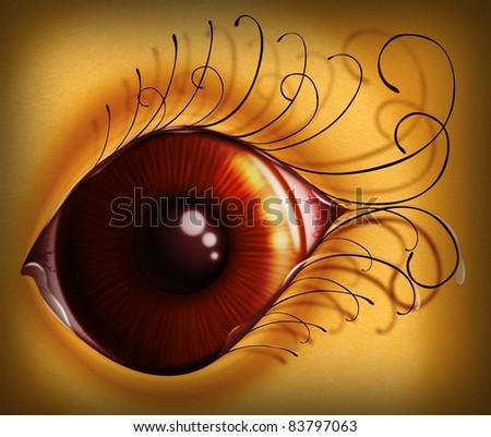 Tired bloodshot and crying eye, illustration. - stock photo