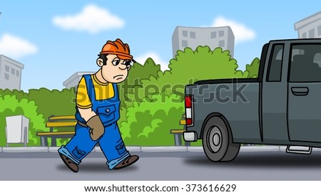 tired builder goes to the car at the end of the working day - stock photo