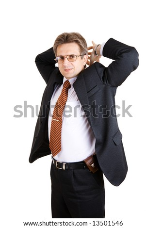 tired business man stretches - stock photo