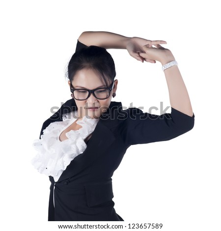 Tired business woman stretching, isolated on whtie background, Model is Asian woman. - stock photo