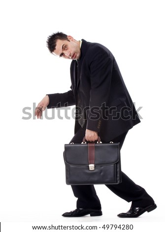 Tired businessman holding his bag