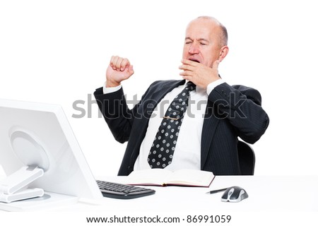 tired businessman in office over white background - stock photo