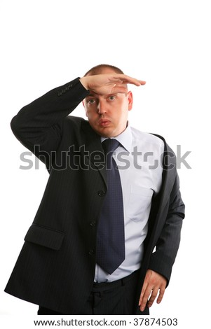 Tired businessman on white background.