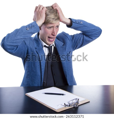Tired businessman over white background