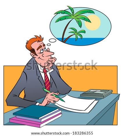 Tired businessman sitting at office and dreaming about trip to the resort