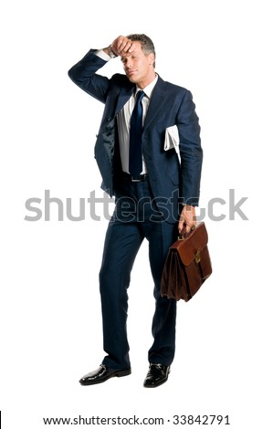 Tired businessman take a little break isolated on white background - stock photo
