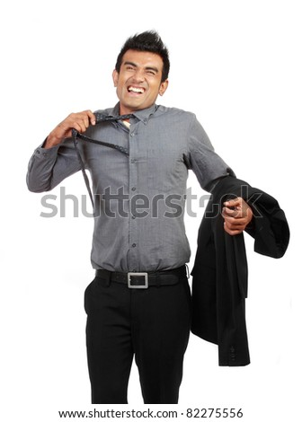 tired businessman untying his tie isolated on white - stock photo