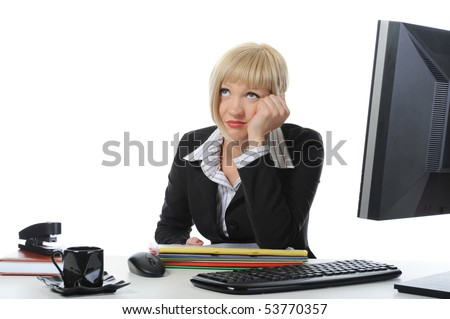 Tired businesswoman in the office. Isolated on white background - stock photo