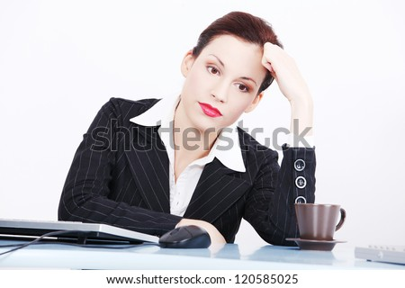 Tired businesswoman woman haveing problem - stock photo