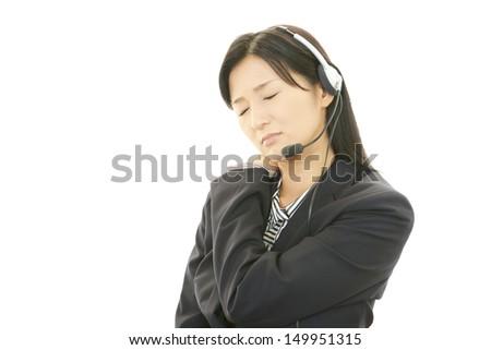 Tired call center operator - stock photo