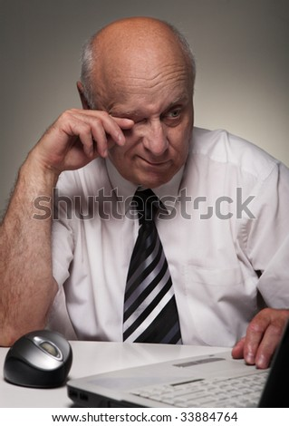 Tired clerk - stock photo