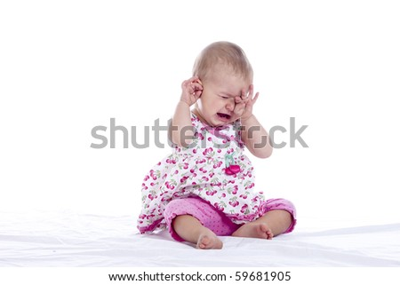 tired crying baby isolated over white - stock photo