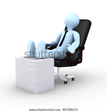 Tired 3d businessman is resting