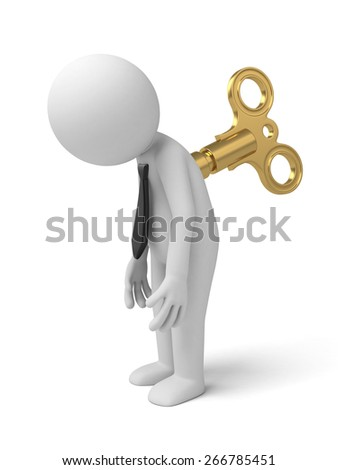 tired/3d people with the clockwork. 3d image. Isolated white background - stock photo