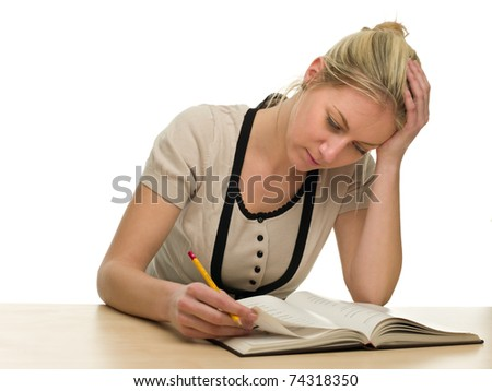 Tired Female Student preparing for an Exam on White Background - stock photo